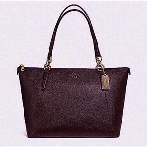 COACH AVA GLITTER CROSSGRAIN LEATHER TOTE BAG